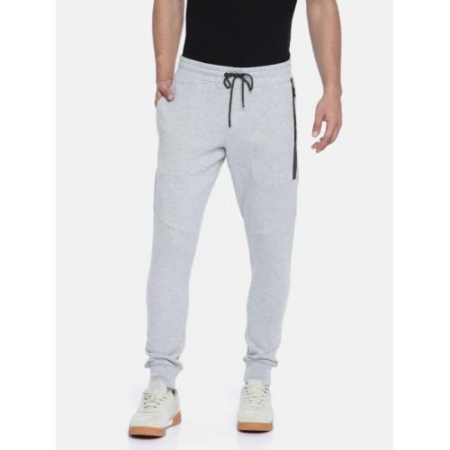 Jack & Jones Men Grey Melange Solid Slim Fit Joggers