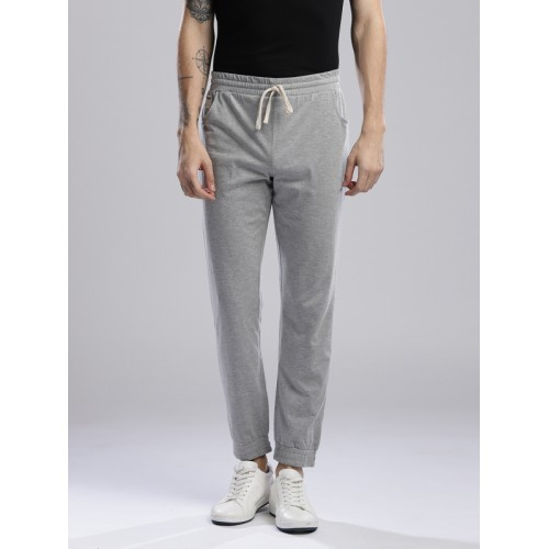 Hubberholme Men Grey Melange Solid Slim Fit Joggers