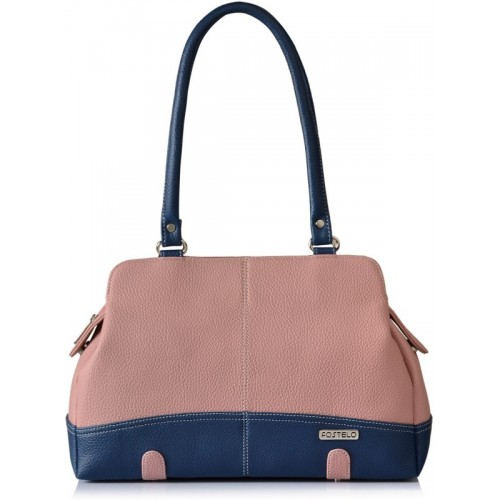 Fostelo Pink & Navy Blue Synthetic Solid Handbag