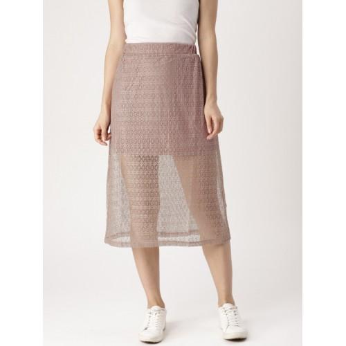 DressBerry Women Pink Self-Design Semi-Sheer A-Line Midi Skirt