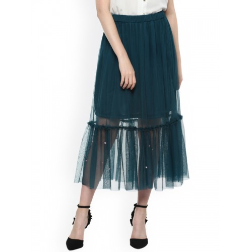 Street9 Green Sequinned Mesh Skirt