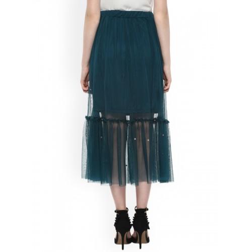Street9 Green Sequinned Mesh Skirt