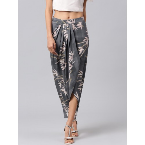 Athena Grey Floral Printed Tulip Style Maxi Skirt