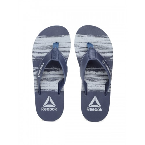 Reebok Men Navy Blue & Grey Gillette Printed Thong Flip-Flops