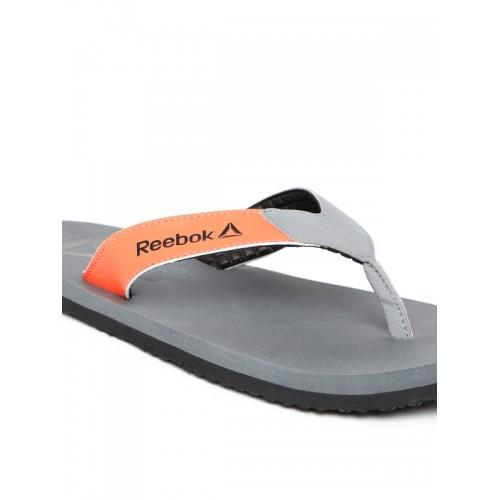 f73203e9d93de2 Buy Reebok Men Grey   Orange Core Solid Thong Flip-Flops online ...