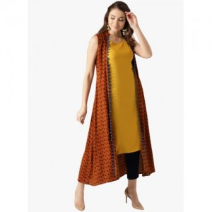 Libas Brown And Yellow Printed Jacket Style Kurta
