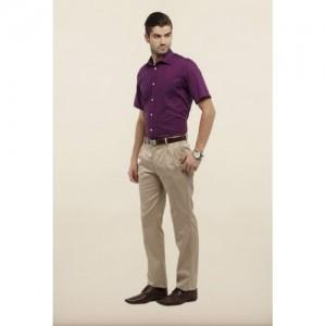 Allen Solly Beige Solid Formal Trouser