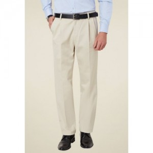 Allen Solly Cream Regular Fit Cotton Trousers