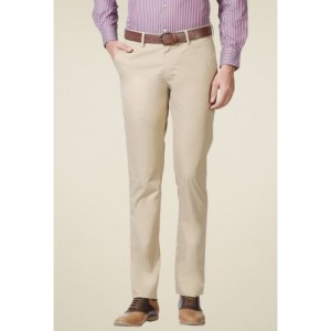 Allen Solly Beige Comfort Fit Mid Rise Flat Front Trousers