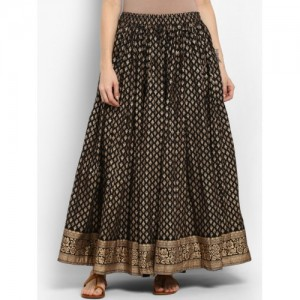 Varanga Black Cotton Printed Maxi Skirt