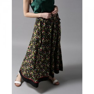 HERE&NOW Black & Pink Floral Print Maxi Flared Skirt