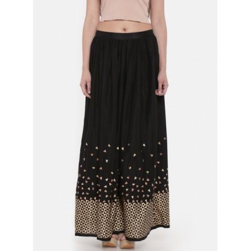 c55a96a398 Buy Global Desi Black Printed A-Line Maxi Skirt online   Looksgud.in