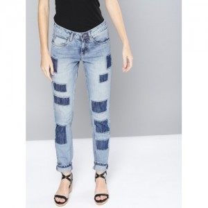 NUSH Women Blue Regular Fit Mid-Rise Mildly Distressed Jeans