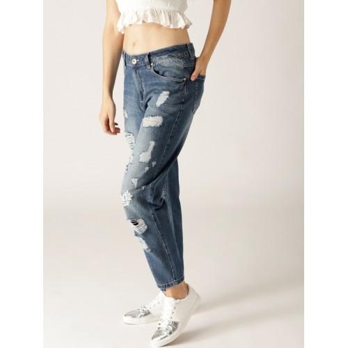 United Colors of Benetton Women Blue Boyfriend Fit Mildly Distressed Jeans