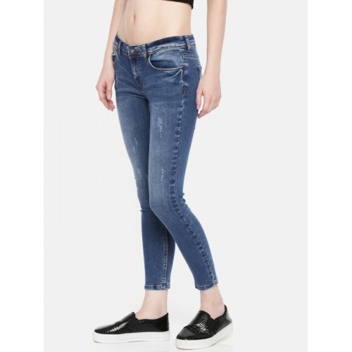 Jealous 21 Women Blue Super Skinny Fit Mid-Rise Low Distress Stretchable Jeans