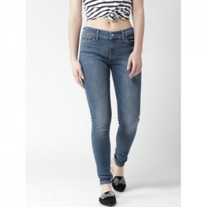 Levis Women Blue 710 Super Skinny Fit Mid-Rise Clean Look Stretchable Jeans
