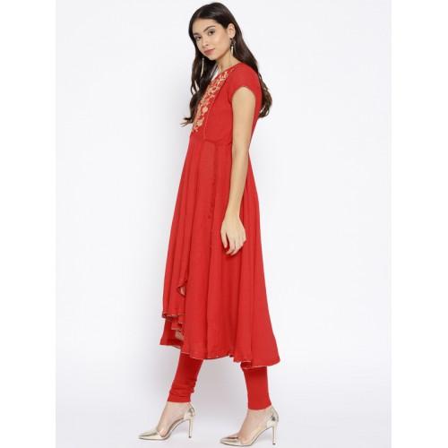 Biba Women Red Synthetic Solid Kurta with Churidar & Dupatta