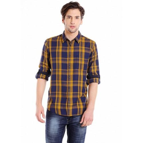 Dennis Lingo Men Checkered Casual Blue, Yellow Shirt