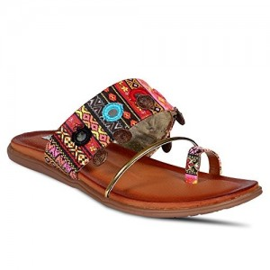 ANAND ARCHIES Brown Artificial Leather Flats for Women's