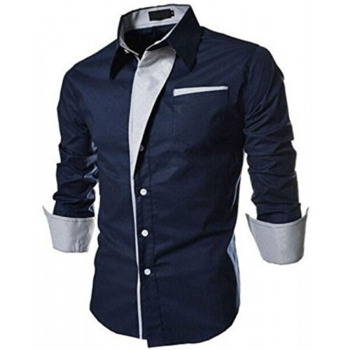 Qlonz store Men Navy Blue Solid Cotton Casual Shirt