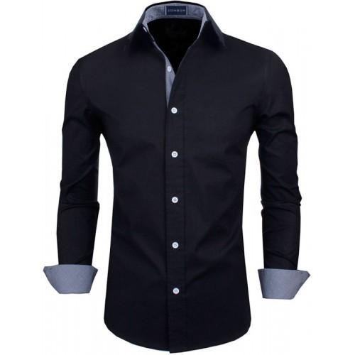 Zombom Men's Black Solid Casual Shirt
