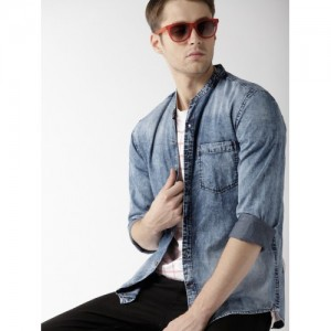 Mast & Harbour Blue Cotton Faded Chambray Casual Shirt