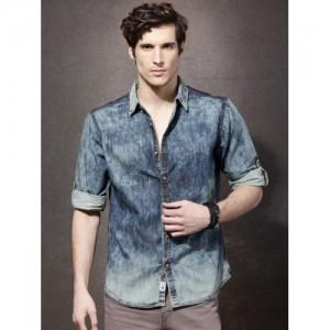 Roadster Men Blue Cotton Regular Fit Acid Wash Denim Shirt