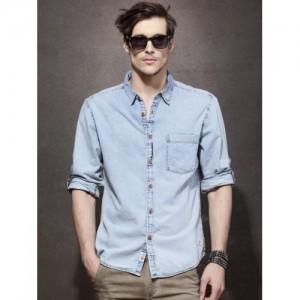 Roadster Blue Cotton Denim Regular Fit Solid Casual Shirt