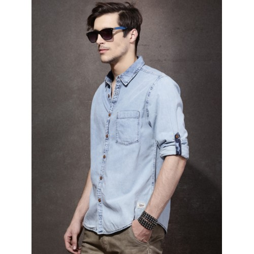 Roadster Blue Cotton Denim Regular Fit Solid Casual Shirt