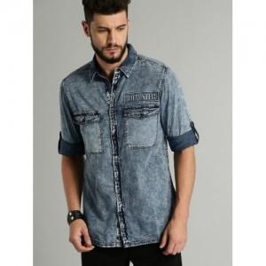 Roadster Blue Cotton Regular Fit Faded Denim Casual Shirt
