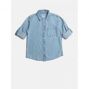 YK Boys Blue Cotton Regular Fit Solid Denim Shirt