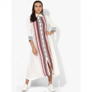 Sangria Women White Printed Shirt Dress