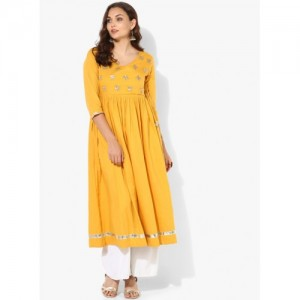 Sangria Yellow Cotton Anarkali Kurta