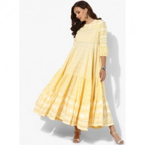 Sangria Yellow Cotton Khadi Print Kurta