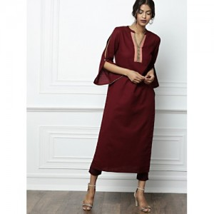 all about you Women Maroon Solid Straight Kurta
