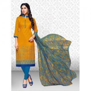 Divastri Mustard & Blue Jacquard Embroidered Self Design Salwar Suit Dupatta Material