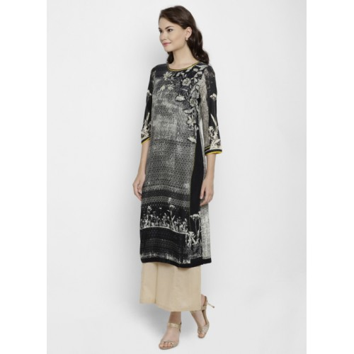 Biba Black & Cream-Coloured Printed Straight Kurta