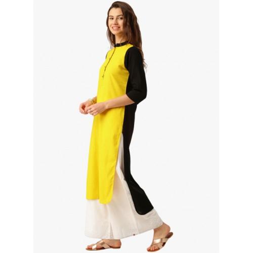 Jaipur Kurti Yellow Solid Kurta