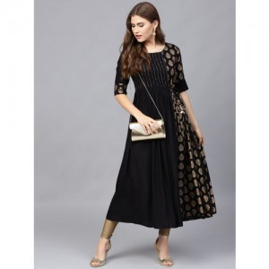 Varanga Women Black & Golden Printed A-Line Kurta