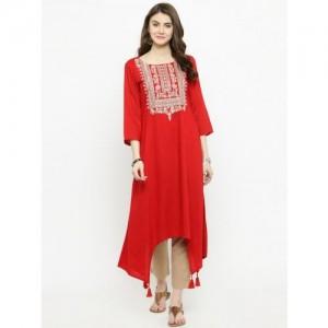 Varanga Red Rayon Embroidered Kurta