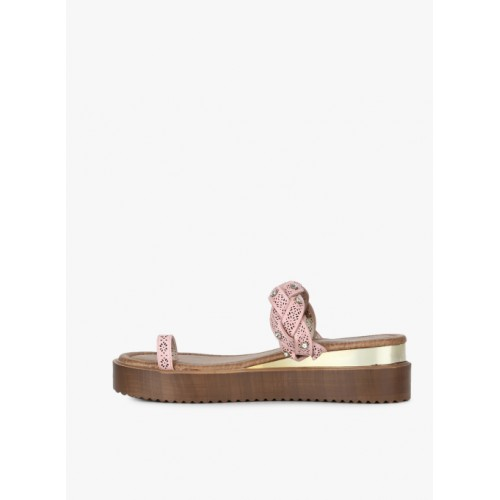 Carlton London Pink Synthetic Wedge Chappal