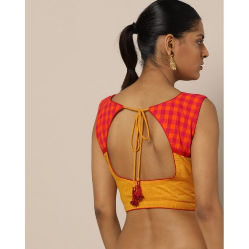Indie Picks Yellow Handloom South Cotton Blouse with Stylised Back