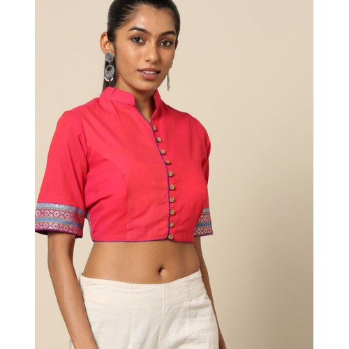 Indie Picks Pink South Cotton Blouse with Woven Trims