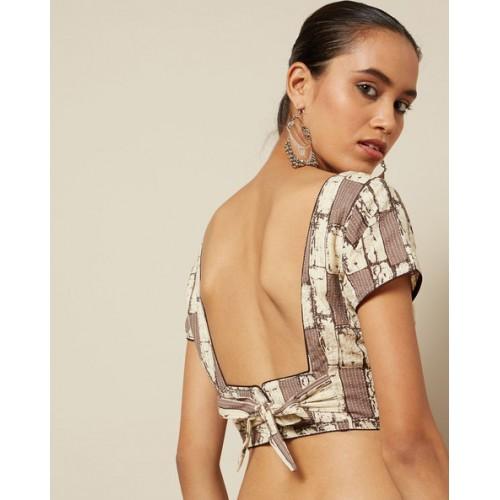 Indie Picks Brown Geometric Print Pure Cotton Blouse