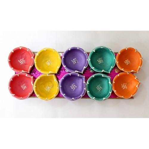 Handpainted Colourfull Decorative Diyas( Pack of 10)