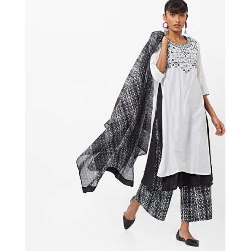 014d0e1c4d ... Biba White & Black Cotton Silk Embroidered Layered Straight Kurta with Palazzo  Pants & Dupatta ...