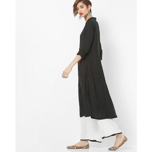 Biba Black Cotton Solid A-line Princess Cut Kurta
