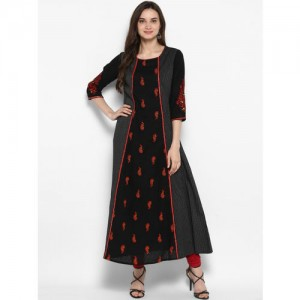 Juniper Women Black & Red Embroidered A-Line Kurta