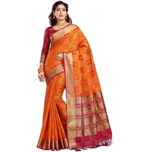 Ishin Orange Woven Bollywood Jacquard Saree With Blosue