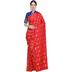Ishin Red Woven Bollywood Jacquard Saree With Blouse